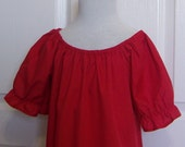 Clothing Girls Top or Dress Red Peasant Style Blouse or Dress   Toddler Girls Blouse Toddler Dress  Children's Sizes 6 mth - 10
