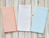 Orange, Aqua and White Seersucker, set of 8,  Cloth Napkins by Dot and Army