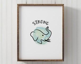 Nursery animal print Elephant print be strong PRINTABLE elephant illustration jungle animal print animal wall art nursery decor kids art