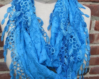 Turquoise infinity scarf Floral Lace romantic Loop Cowl Soft Lightweight long Fringed shawl colorful blue flower Fashion Accessory Gift idea