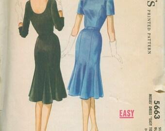 1960 McCalls 5663 Retro Wiggle / Tulip Skirt Dress Sewing Pattern Vintage Size 18 Scoop back LBD Sheath Dress Little Black Dress