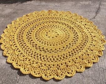 Gold Outdoor Crochet Rug 5 feet/1.52m/152.4cm