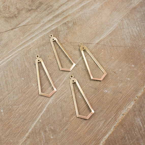 2 Hole Raw Brass Long Pointed Teardrop Pendant Drop 42x15mm (4) mtl054D