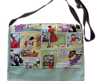 Dysfunctional Family Comic Leather Messenger Bag