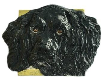 American Cocker Spaniel Ceramic Portrait Sculpture 3D Dog Art Tile Made to Order