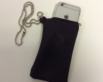 Handmade Leather Ball Chain Necklace Black  iphone Sleeve Holder CUSTOM
