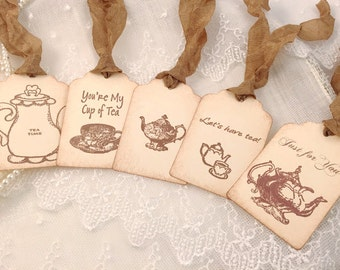 Tea Party Gift Tags Sampler Set of 5