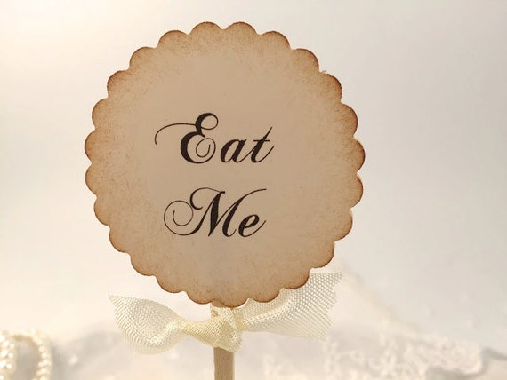 Eat Me Toppers Alice in Wonderland Cupcake Toppers / Food Picks - You Pick Ribbon Color Set of 10