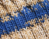 Hand-knit wool hat -- tan and blue