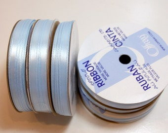 Light Blue Ribbon, Double-faced light blue satin ribbon 1/4 inch wide x 60 yards