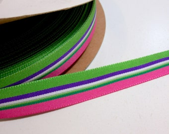 Striped Ribbon, Pink Striped Grosgrain Ribbon 7/8 inch wide x 10 yards, Offray Freemont Ribbon
