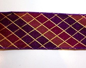 Metallic Ribbon, Lion Brand Purple Diamonz Wired Fabric Ribbon 4 inches wide x 10 yards, Full Bolt