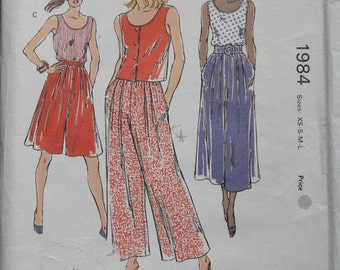 Kwik Sew Misses Tops Pants Pattern 1984