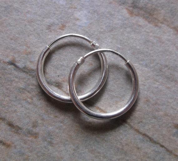 Small 12mm Sterling Silver Hoop Earrings.