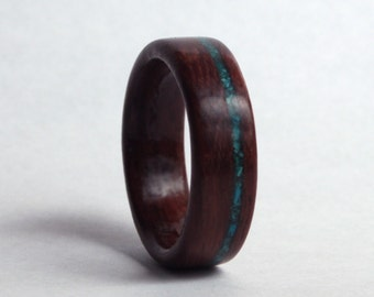 Leadwood Wood Ring with Offset Inlay of Chrysocolla // Wood Wedding Ring // Wooden Wedding Band