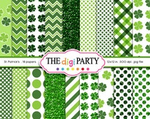 St Patrick's Day Digital Paper Irish Digital Paper Printable Shamrock Patterns glitter commercial use