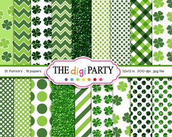 St Patrick's Day Digital Papers Irish Digital Paper Printable Shamrock Patterns glitter commercial use