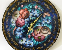 Hand Painted Clock - Russian Zhostovo Style Clock - Folk Art Wall Clock