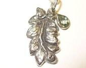 Silver Leaf Necklace with Sapphire Accent - Unique Fine Silver Pendant with Bezel-Set Genuine Fancy Gem