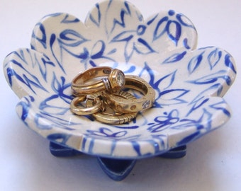 Delft Blue pottery Ring Dish for blue kitchen decor, candleholder, dresser dish, delphinium bathroom