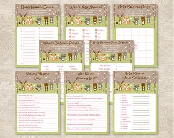 Pink Woodland Animals Baby Shower Games Package / 8 Printable Games / Woodland Baby Shower / Girl Forest Animals / INSTANT DOWNLOAD A209