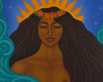 Pele Hawaiian Goddess Portrait Art Print of Original Painting by Tamara Adams