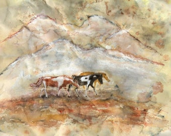 Watercolor Painting Horse Art, Horse Painting, Horse Watercolor, Abstract Horse, Landscape Watercolor, Mountain Print Titled Afternoon Walk
