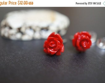 AUTUMN SALE Barbie Doll Simple and Elegant Red Coral Flower Earring Sterling Silver Studs - 1 pair