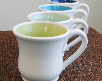 Coffee Mugs - Large Pottery Mugs - Wedding Gift - Ceramic Stoneware Set of Four Cups in Cool Tones Handmade Mugs