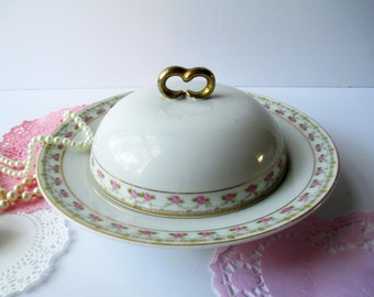 Vintage Austrian HUB Butter Cheese Dish Pink Green Rose - Weddings Bridal
