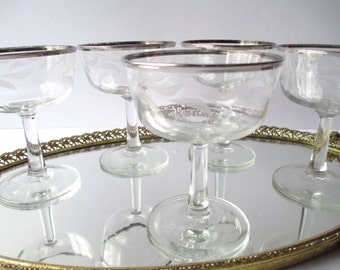 Vintage French Platinum White Etched Champagne Glasses Set of Five