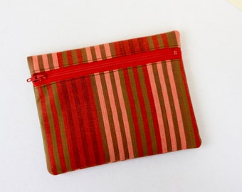 Red Cotton Striped Zipper Pouch Gadget Accessory Case