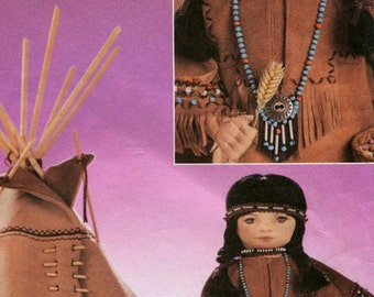 Vogue 7813 Sewing Pattern Eighteen Inch Doll Native American Tee Pee Accessories