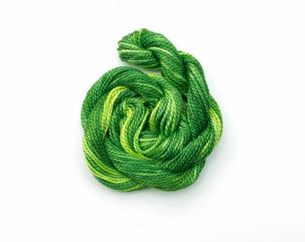 Hand dyed cotton perle 5 embroidery thread - emerald green, leaf, moss, light green, lime, mercerised cotton yarn, 20 metre (22 yard) skein