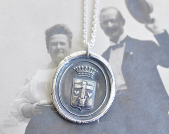cross wax seal necklace - cross, hearts, crown, shield wax seal pendant … faith, sincerity, charity - silver religious wax seal jewelry