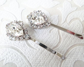 Bridal Hair Pins with Clear Swarovski Crystal on Strong Bobby Pin for Vintage Art Deco Hair Style or Victorian Wedding Headpiece