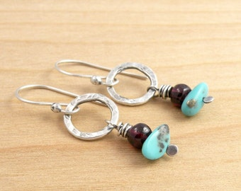 Turquoise and Garnet Earrings, Turquoise Dangle Earrings, Garnet Earrings, Cananea Mine, Silver Circles, Sterling Silver, #4637