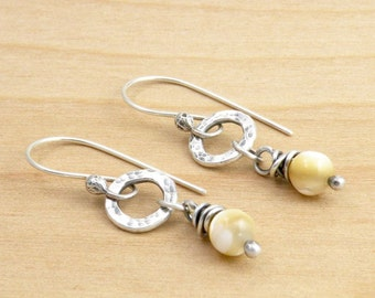 Beige Mother of Pearl Earrings, Shell Gemstone Earrings, Petite Earrings, Neutral Dangle Earrings, Silver Circles, Sterling Silver, #4665