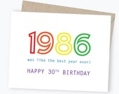 30th Birthday Card - Happy Birthday - Birthday Card - 1986 - Rainbow