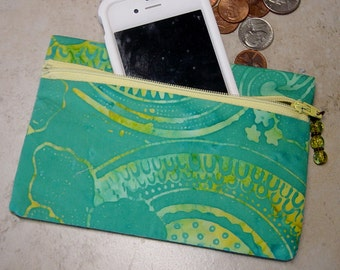 Zippered Coin Purse,Turquoise Green Batik Fabric Cell Phone Case,Tropical,Coin Wallet,Small Zippered Purse, Batik Cloth Coin Purse