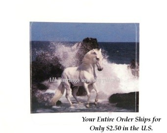 4 Sticker Decal, White Stallion in the Surf, Scrapbooking, Decoupage, Collage, Altered Art, Mixed Media Supply 38mm, 4 pc