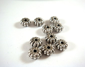 10 Silver Spacer Bead Corrugated Pumpkin Rondelle Bead Silver Plated NF/CF/LF 8x4mm - 10 pc - M7057-AS10