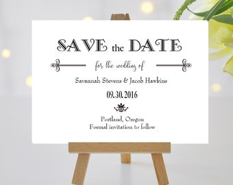 Elegant Save the Date Cards Black and White   Simple Modern Save the Date Card Black Tie   Printed Wedding Save the Date Card   Gatsby Style