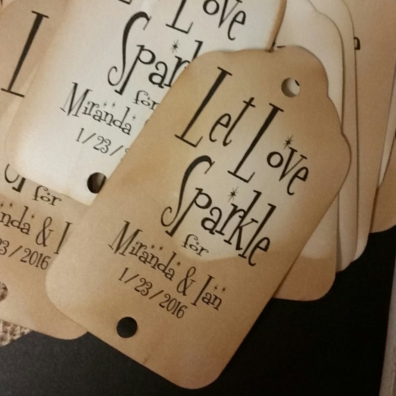 Let Love Sparkle Tags Personalize Sparkler Tags with names and date choose your quantity