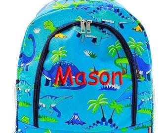 Personalized Backpack Dinosaur Dino Monogrammed School Children Kids