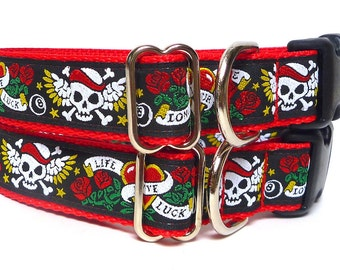 GreytEscape's Red and black Love Skulls Dog Tag Collar, buckle dog collar, house dog collar