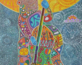 "Bass playing Bear art print intuitive visionary folk self taught art 8""x12"" Giclee print on canvas"