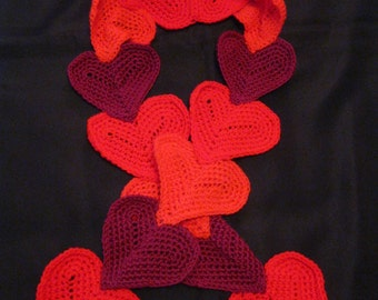 Crocheted  Heart Fashion Statement Scarf Gift Present Teacher Stocking Stuffer Birthday Valentines Mother's Day FREE GIFT