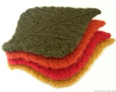CROCHET PATTERN - Felted Tea Cozy and Leaf Coasters - Instant Download (PDF)