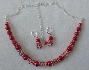 Rich Red and Silver Rhinestone and Pearl Necklace and Complimentary Earrings